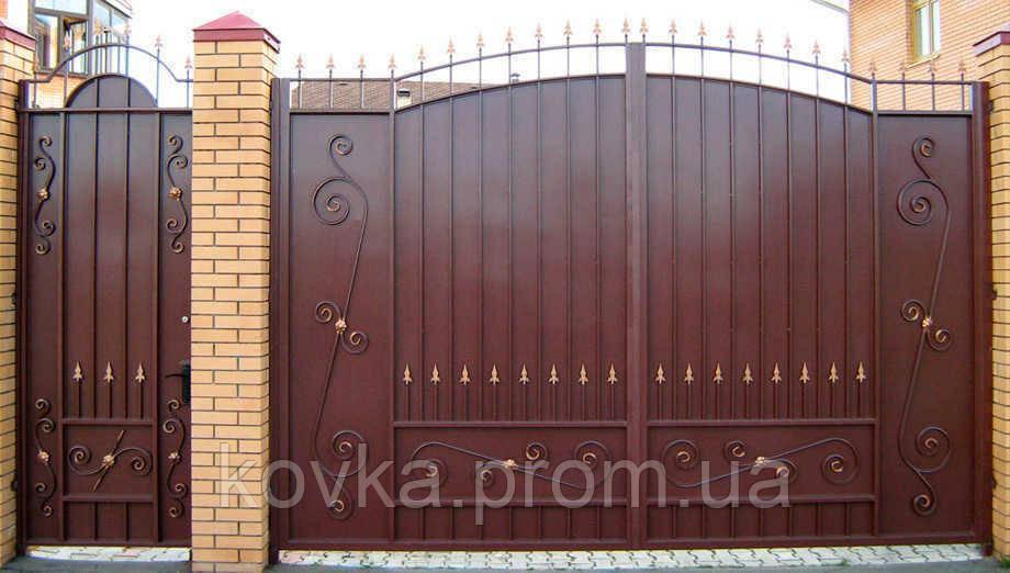 Металлические распашные въездные ворота с калиткой, код: К-0118