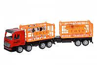 Мальчик Same Toy Машинка инерционная Super Combination Грузовик (красный) для перевозки животных с прицепом