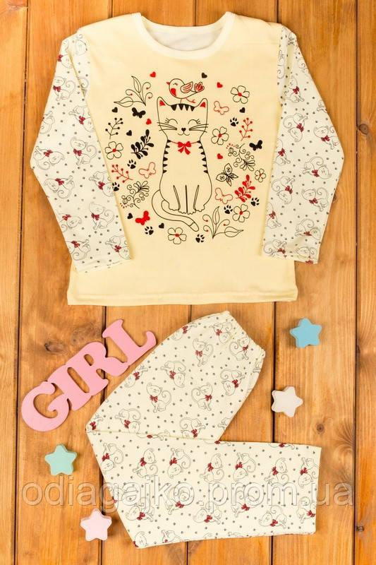 75b020196ff37 Теплая детская пижама начес с накатом для девочки 34р 122см с Кошечкой  желтая в кошечки
