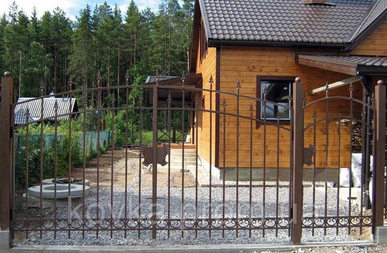 Металические распашные ворота с калиткой, код: К-0108