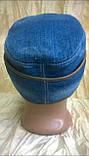 Кепка немка трансформер   мужская из джинсы и кожи, фото 3