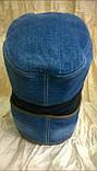 Кепка немка трансформер   мужская из джинсы и кожи, фото 4