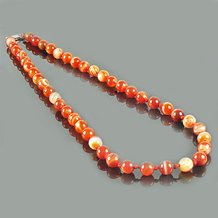 Ожерелье из оранжевого агата 8 мм