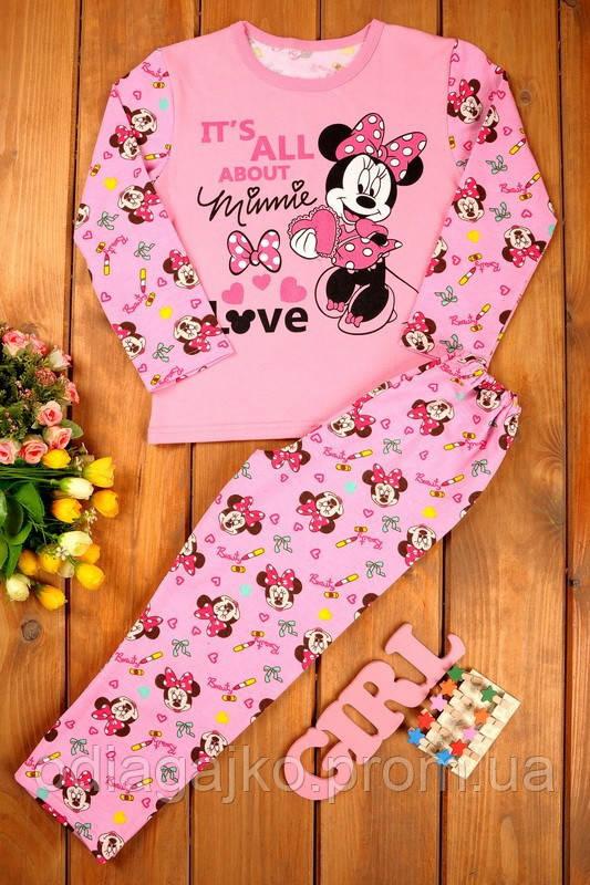 49f5d000939e4 Теплая детская пижама начес с накатом для девочки 38р 146см с Минни Маус  розовая