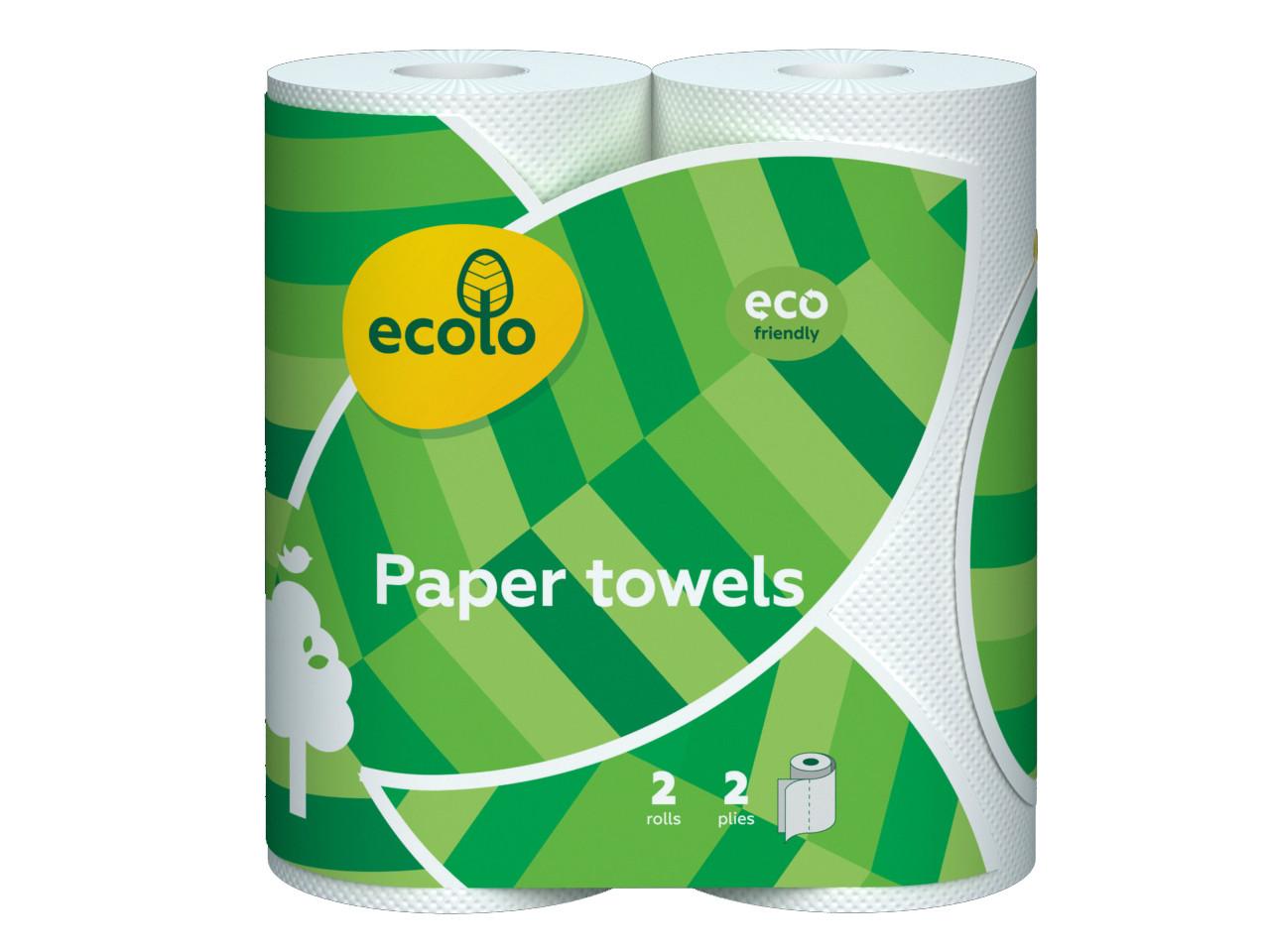 """Бумажные полотенца """"Ecolo"""", 120 отрывов, 2 слоя, 2шт"""