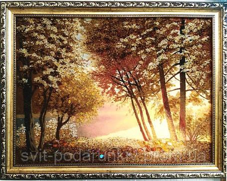 """Картина """"Солнце в лесу"""", красивый пейзаж из янтаря, фото 2"""
