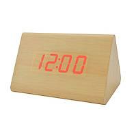 Деревянные настольные LED часы VST 864 Red Light Светло-коричневый