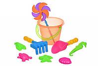 Игрушки Для Песка Same Toy Набор для игры с песком - с воздушной вертушкой (оранжевое ведро) 9 шт