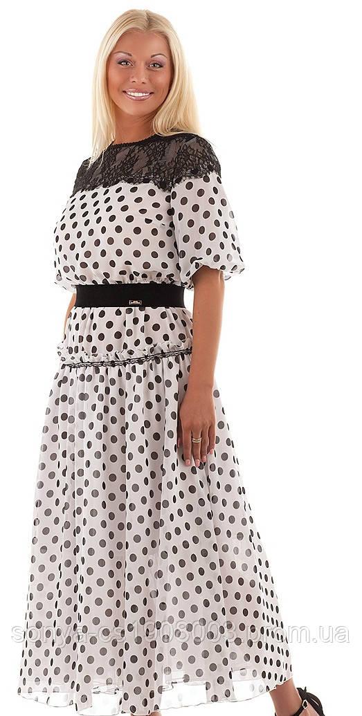 Фото шифоновое платье в горох