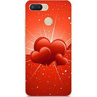 Бампер силиконовый для Xiaomi Mi 8 Lite с рисунком Сердечки