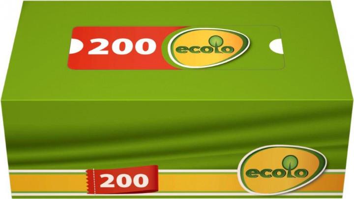 Салфетки косметические Ecolo 2 слоя 200 листов