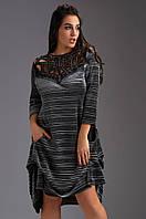 """Расклешенное бархатное платье """"ПЛИССЕ"""" с карманами и перфорацией (большие размеры)"""