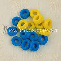 Резинки для волос махровые Калуш, голубые и желтые, 2 см
