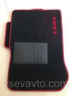 Ворсовые коврики для ВАЗ 2108/09/13-15  красный кант и логотип LADA, Carrera