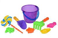 Игрушки Для Песка Same Toy Набор для игры с песком с Воздушной вертушкой (фиолетовое ведро) (8 шт.)