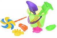 Игрушки Для Песка Same Toy Набор для игры с песком с Воздушной вертушкой (зеленое ведро) (8 шт.)