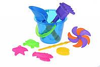 Игрушки Для Песка Same Toy Набор для игры с песком с Воздушной вертушкой (синее ведро) (9 шт.)