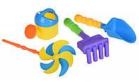 Игрушки Для Песка Same Toy Набор для игры с песком с Воздушной вертушкой (желтая лейка) 4шт.