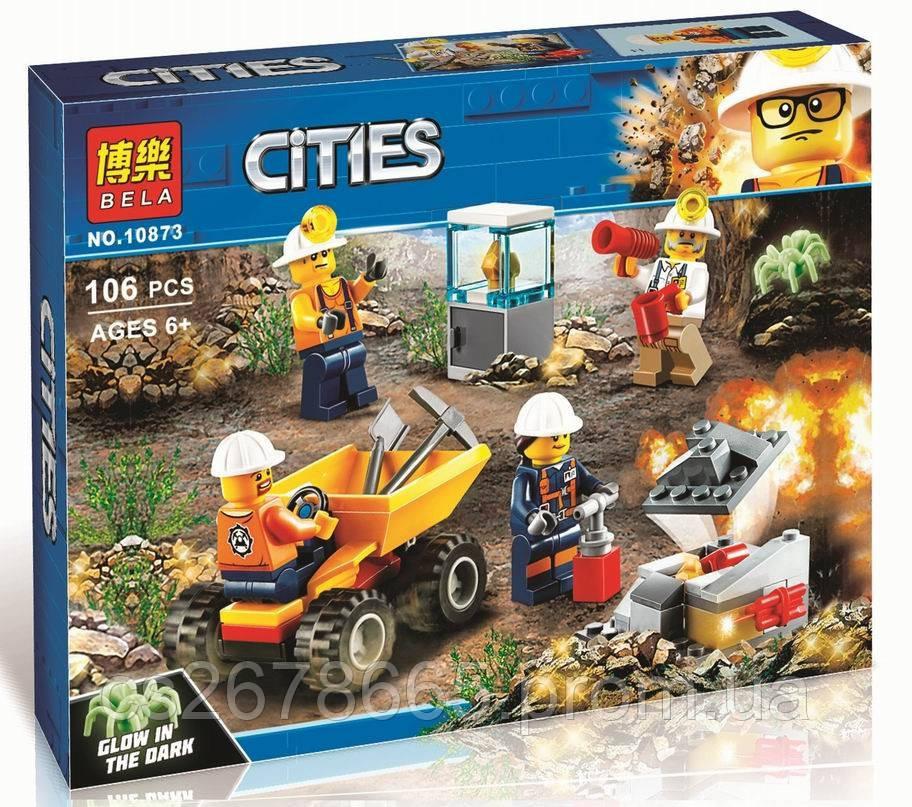 Конструктор CITIES 10873 (аналог Lego City 60184) «Шахта. Бригада шахтеров» 106 дет.