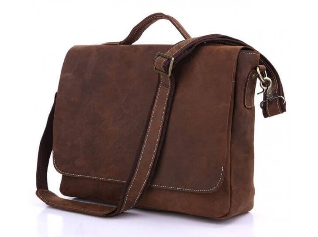 Сумка горизонтальная TIDING BAG из натуральной винтажной кожи в коричневом  цвете 7108R-1 5ec9515797123