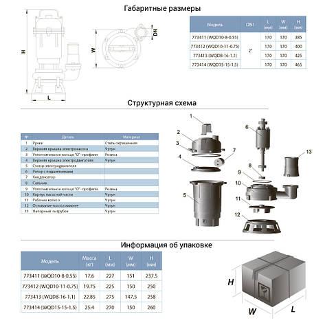 Насос канализационный 1.5кВт Hmax 23м Qmax 375л/мин AQUATICA (773414), фото 2