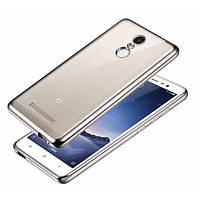 Прозрачный силиконовый чехол для Xiaomi Redmi Note 3 / Redmi Note 3 Pro с глянцевой окантовкой Серебряный