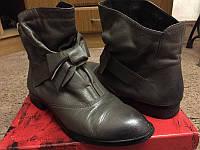 Кожаные женские ботинки оливкового цвета Geronea, отличного качества демисезонные, б/у, 38 р (24,5 см стелька)