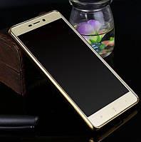 Прозрачный силиконовый чехол для Xiaomi Redmi 3 Pro / Redmi 3s с глянцевой окантовкой Золотой