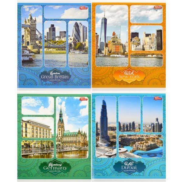 Тетрадь цветная 60 листов, клетка «Популярные Города»       12 штук           2230к