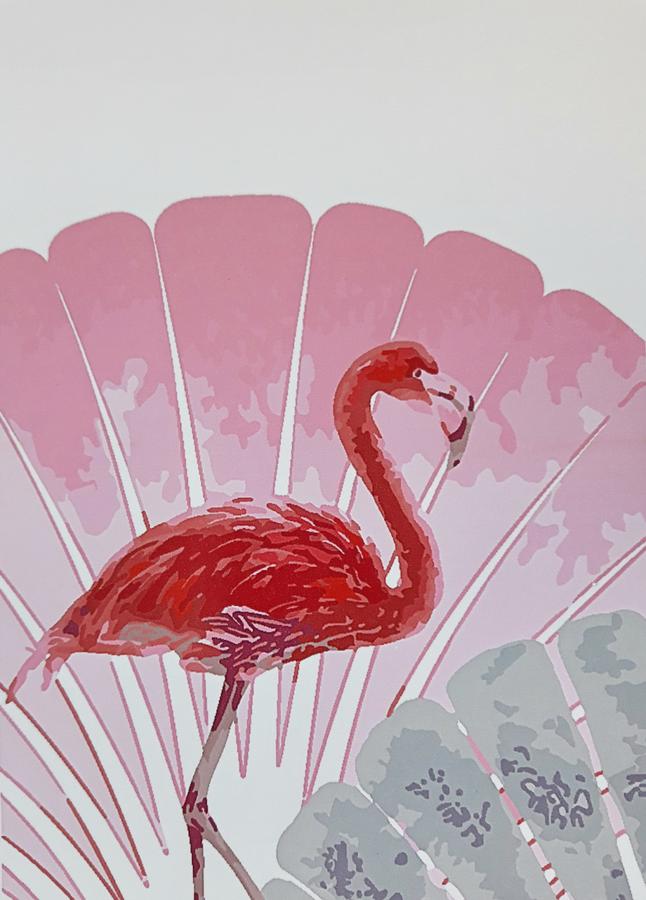 Картина по номерам (BK-GX61113) Веер и фламинго 40 х 50 см