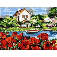 Картина по номерам Озеро с маками, 30x40 см., Babylon