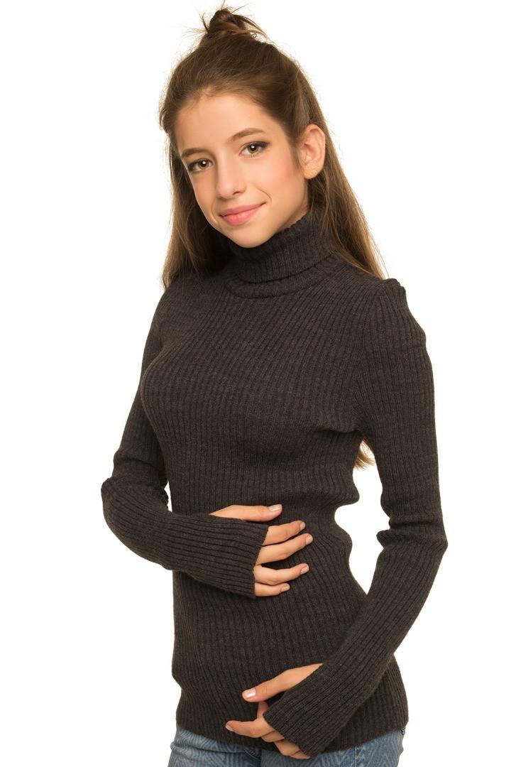 Шерстяная водолазка для девочки темно-серого цвета 140-152р