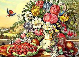 Алмазная вышивка (набор) - натюрморт фрукты и цветы dm-232