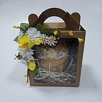 Коробка для кулича, пряничного домика, подарка крафт  11,5х12х14 см. с декором, фото 1