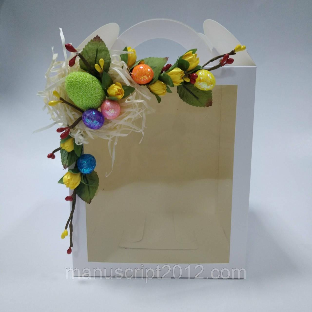 Коробка для кулича, пряничных домов, подарков с одним окном 160х160х190 мм с декором