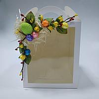 Коробка для кулича, пряничных домов, подарков с одним окном 160х160х190 мм с декором, фото 1
