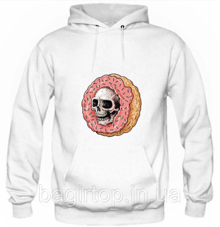 e9d1f8d2 Мужская толстовка с капюшоном - Череп и пончик (зима) - Интернет-магазин
