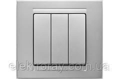 Выключатель тройной Gunsan Moderna Metallic серебро