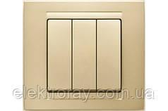Выключатель тройной Gunsan Moderna Metallic золото