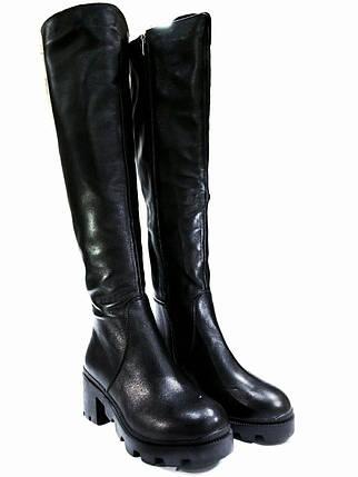 Женские ботфорты евро-зима из натуральной кожи kento на низком ходу., фото 2