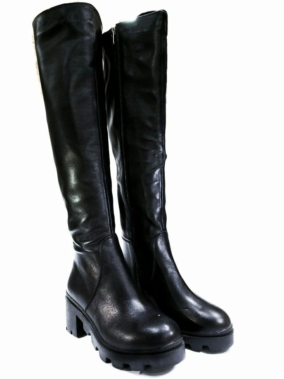 Женские ботфорты евро-зима из натуральной кожи kento на низком ходу.