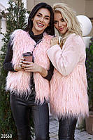 Пушистый женский жилет,пудрово-розовый  L