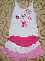 Костюмчик майка+юбка 1-2 года малиновая