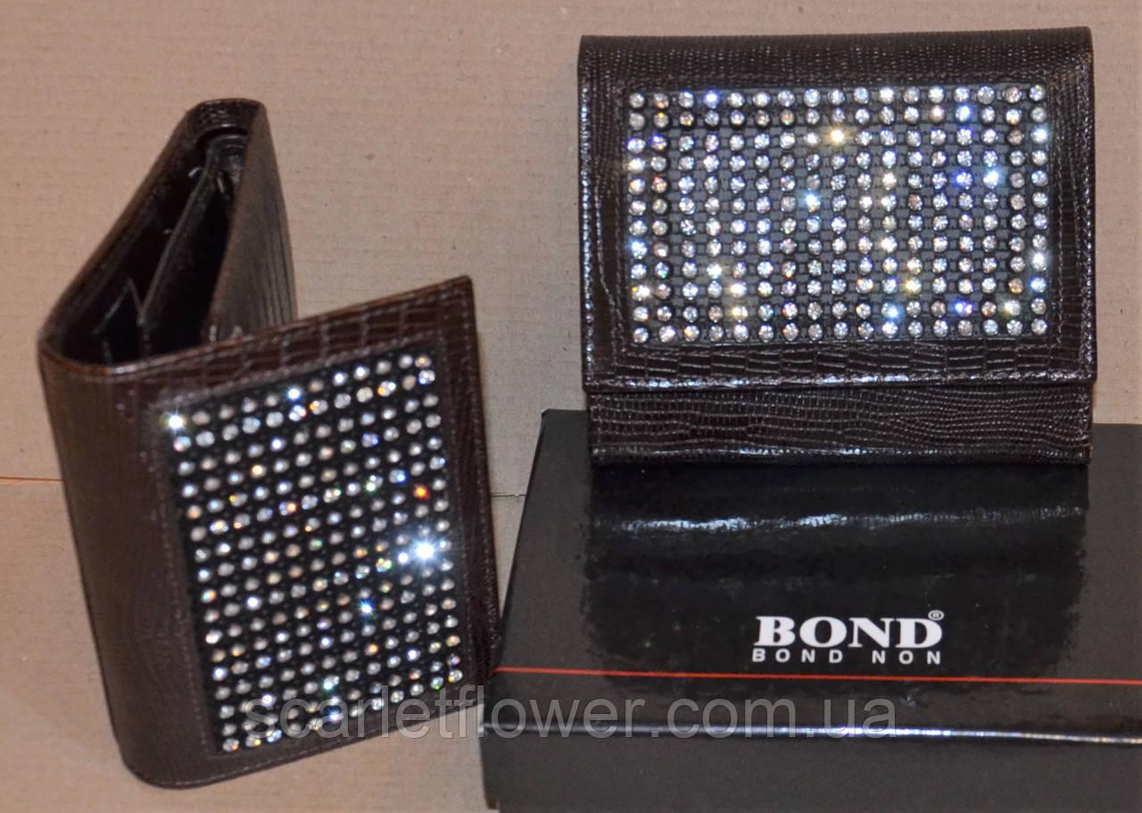 e52892e5ad4d Кожаный кошелек BOND со стразами, складной. - интернет-магазин