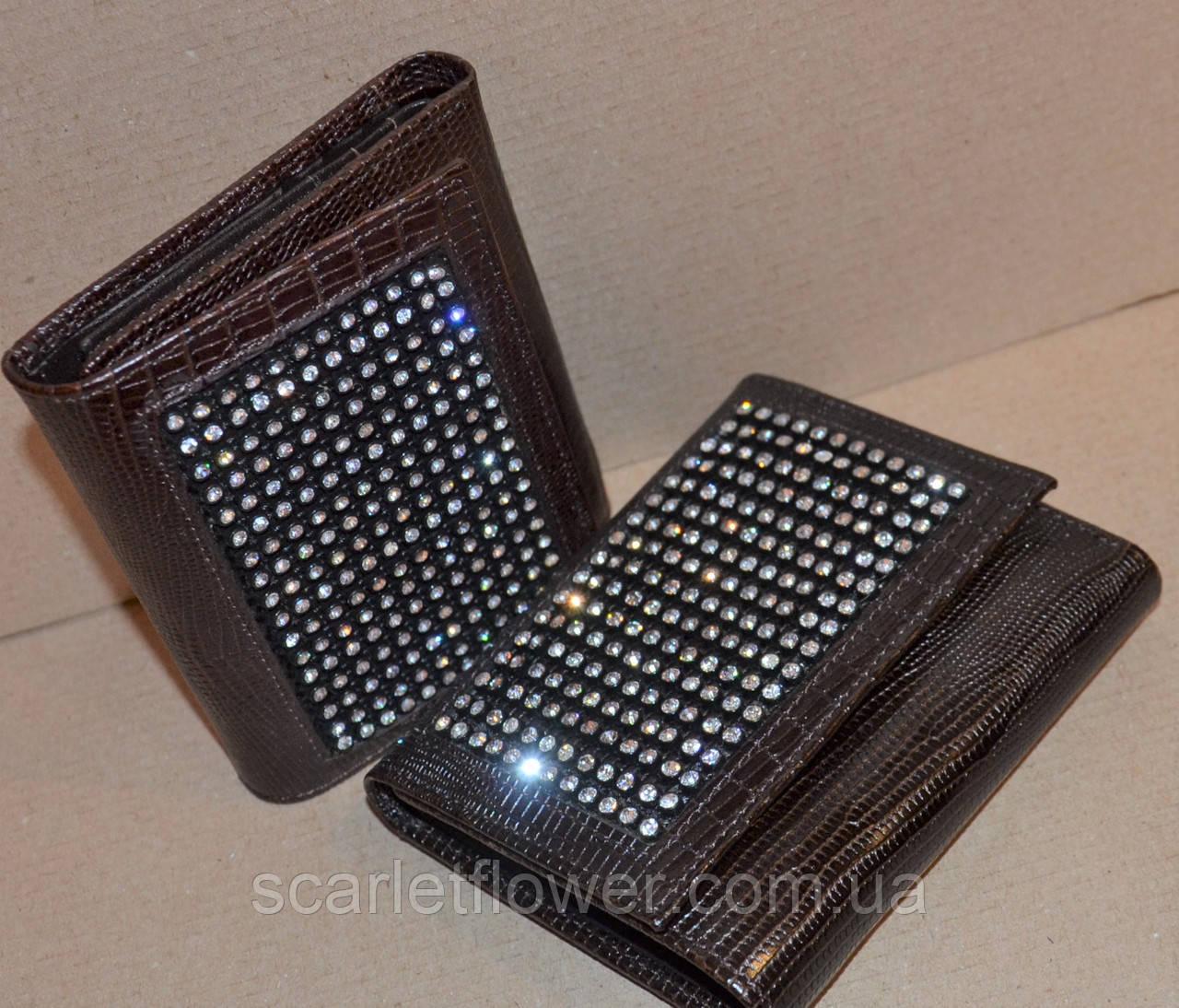 d4f712d9431c Кожаный кошелек BOND со стразами, складной., цена 495 грн., купить в Киеве  — Prom.ua (ID#363322986)