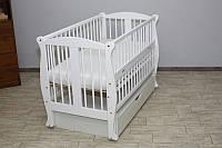 Кроватка детская Грация №11 на шарнирах с подшипником +ящик+ откидная боковина + резьба, белая