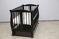 Кроватка детская Грация №11 на шарнирах с подшипником +ящик+ откидная боковина + резьба, венге