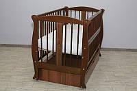 Кроватка детская Labona Грация №11 на шарнирах с подшипником +ящик+ откидная боковина + резьба, орех