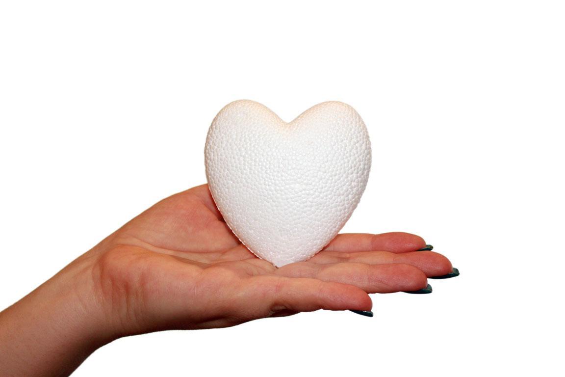Сердце пенопластовое высота 8 см