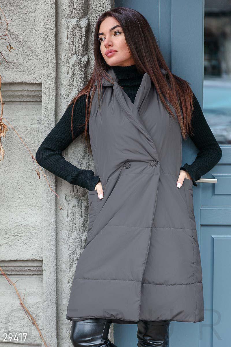 Утепленный стеганный женский жилет,черный S M L XL 2XL